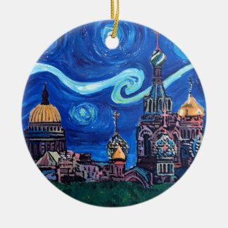 Ornamento De Cerâmica Noite estrelado em St Petersburg Rússia