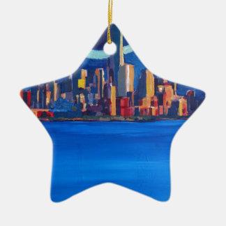 Ornamento De Cerâmica Noite estrelado na Nova Iorque - torre da