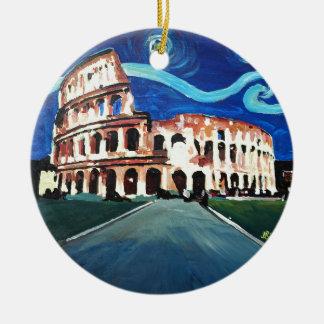 Ornamento De Cerâmica Noite estrelado sobre Colloseum em Roma Italia