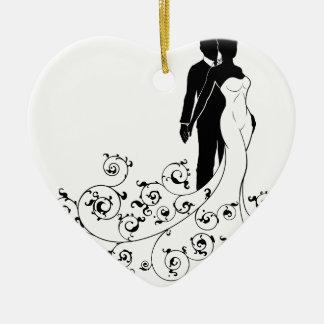 Ornamento De Cerâmica Noivos abstratos do teste padrão que Wedding