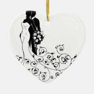 Ornamento De Cerâmica Noivos que Wedding a silhueta nupcial do vestido