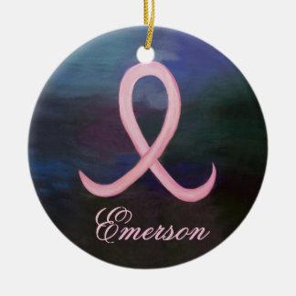 Ornamento De Cerâmica Nome cor-de-rosa corajoso de suporte do cancro da