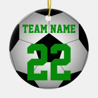 Ornamento De Cerâmica Nome da equipe da bola de futebol personalizado