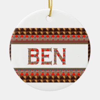 Ornamento De Cerâmica Nome de BEN: O modelo adiciona sua NOME ou foto