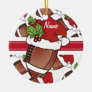 Ornamento De Cerâmica Nome do futebol | DIY do chapéu do papai noel do