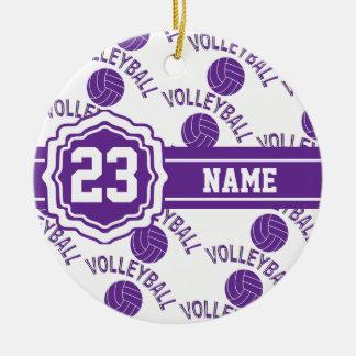 Ornamento De Cerâmica Nome e número roxos do voleibol   DIY