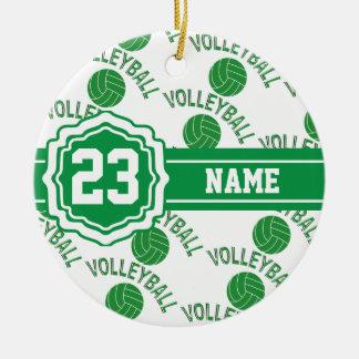 Ornamento De Cerâmica Nome e número verdes do voleibol   DIY