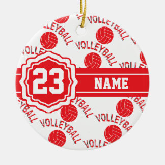 Ornamento De Cerâmica Nome e número vermelhos do voleibol   DIY