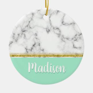 Ornamento De Cerâmica Nome elegante do costume do mármore e do ouro da