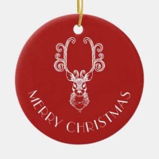 Ornamento De Cerâmica Nome personalizado da rena FELIZ NATAL vermelho