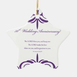 Ornamento De Cerâmica Nomes feitos sob encomenda, 50th aniversário de