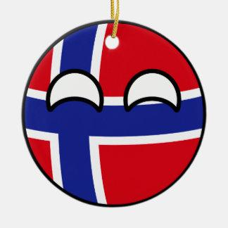 Ornamento De Cerâmica Noruega Geeky de tensão engraçada Countryball