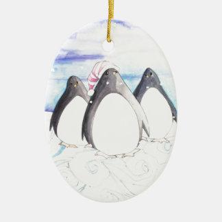 Ornamento De Cerâmica Nós três pinguins