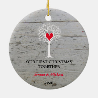 Ornamento De Cerâmica Nossa primeira do Natal madeira lançada costa da