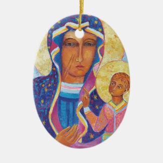 Ornamento De Cerâmica Nossa senhora do Polônia preto de Czestochowa