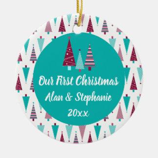 Ornamento De Cerâmica Nossas árvores de Natal malva da primeira cerceta