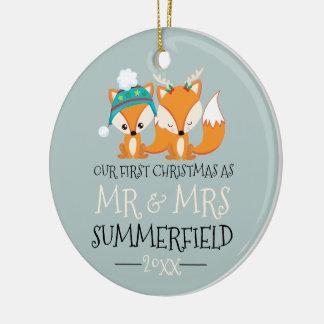 Ornamento De Cerâmica Nossas raposas vermelhas bonitos do primeiro Natal