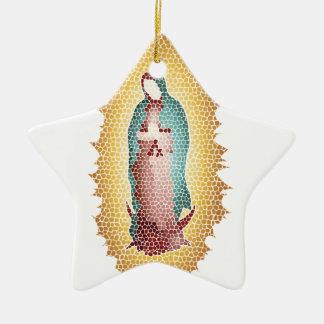 Ornamento De Cerâmica Nosso design do mosaico da senhora Guadalupe