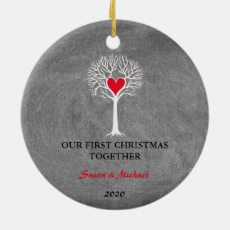 Ornamento De Cerâmica Nosso primeiro do Natal quadro da árvore de amor
