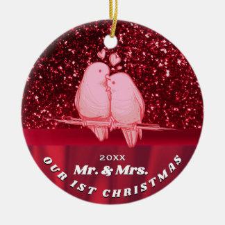 Ornamento De Cerâmica Nosso primeiro Natal ama junto pássaros Sr. & Sra.