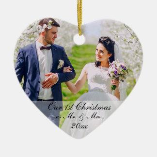 Ornamento De Cerâmica Nosso primeiro Natal como o Sr. & a Sra. Foto RS