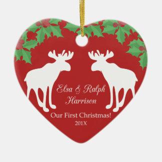 Ornamento De Cerâmica Nosso primeiro Natal - coração decorativo cerâmico