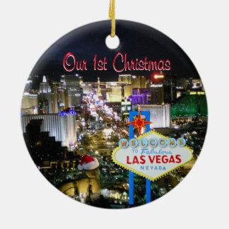 Ornamento De Cerâmica Nosso primeiro Natal Las Vegas