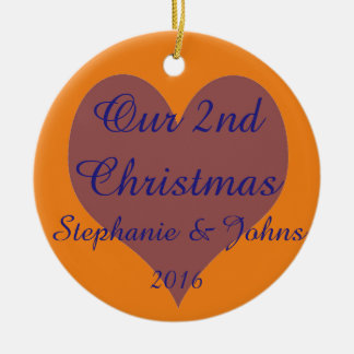 Ornamento De Cerâmica Nosso segundo do Natal coração alaranjado azul