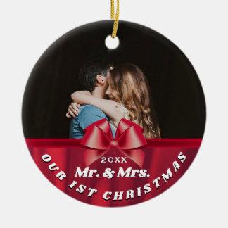Ornamento De Cerâmica Nossos øs Sr. da foto do Natal & Sra. Vermelho