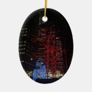 Ornamento De Cerâmica Nova Iorque Manhattan das luzes de Natal da rena