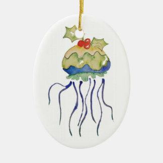 Ornamento De Cerâmica Novidade náutica das medusa do pudim do Natal