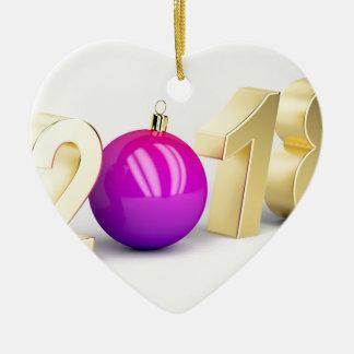 Ornamento De Cerâmica Número 2018 com bola do Natal