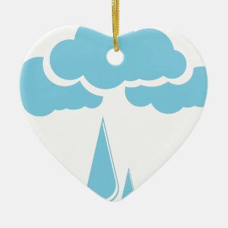 Ornamento De Cerâmica Nuvens com chuvisco