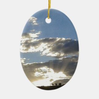 Ornamento De Cerâmica Nuvens e Sun