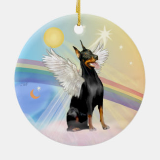 Ornamento De Cerâmica Nuvens - Pinscher do Doberman (o dbl tomou