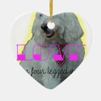 Ornamento De Cerâmica O amor é uma palavra de quatro patas