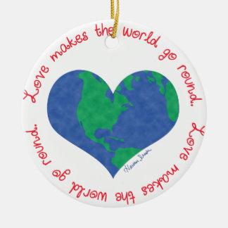 Ornamento De Cerâmica O amor faz o mundo ir circularmente