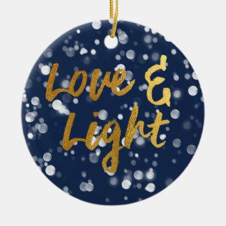 Ornamento De Cerâmica O amor & ilumina a folha Bokeh bonito Hanukkah do