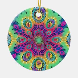 Ornamento De Cerâmica O amor psicadélico da Multi-Cor é teste padrão