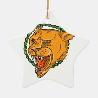 Ornamento De Cerâmica O anel da rosnadura da leoa sae do tatuagem