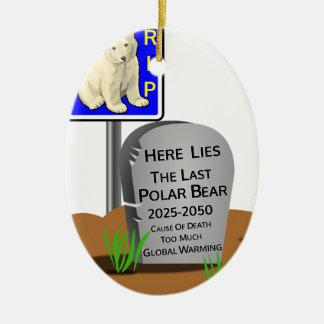 Ornamento De Cerâmica O aquecimento global, RASGA o urso polar 2050