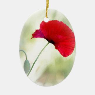 """Ornamento De Cerâmica O avental com papoila vermelha """"esteja feliz! """""""