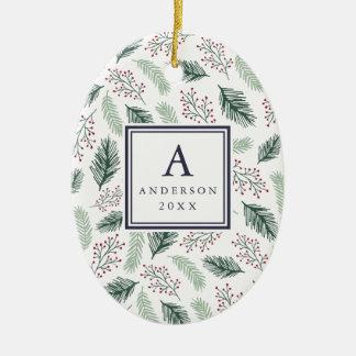 Ornamento De Cerâmica O azevinho e do monograma & da foto do pinho dobro