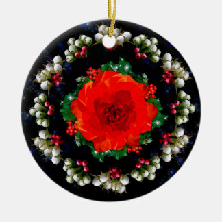 Ornamento De Cerâmica O azevinho e o rosa