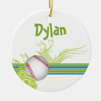 Ornamento De Cerâmica O basebol ostenta o nome personalizado jogo de