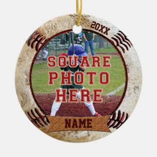 Ornamento De Cerâmica O basebol personalizado da FOTO Ornaments o NOME,