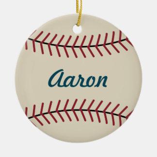 Ornamento De Cerâmica O basebol personalizado do Natal ostenta o