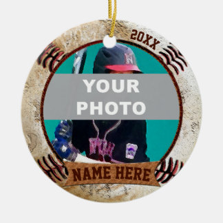 Ornamento De Cerâmica O basebol personalizado FOTO Ornaments o texto,