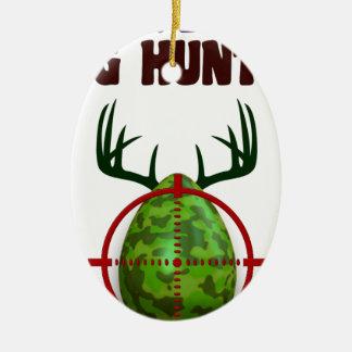 Ornamento De Cerâmica O caçador perito da páscoa, cervo do ovo visa o