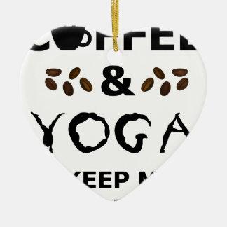 Ornamento De Cerâmica O café e a ioga mantêm-se ir